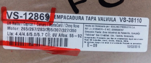 Empacadura Tapa Valvula Chevrolet Malibu 350 305 #vs-12869