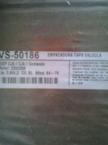 empacadura tapa valvula cj5/cj6/comando motor 232/258