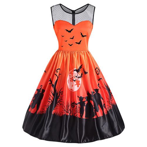 empalmado, impresión de halloween la mujeres vendimia vesti