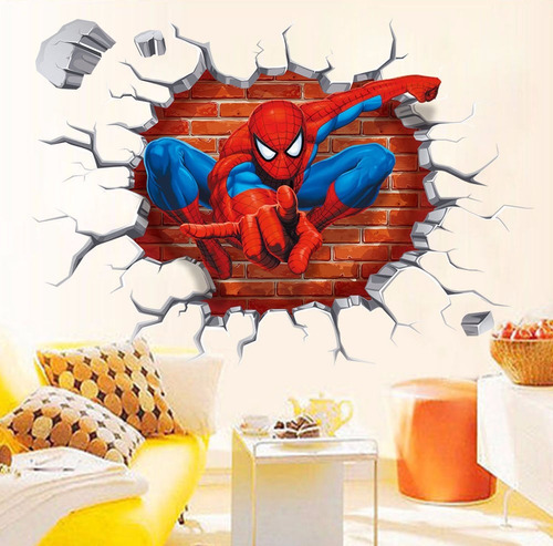 empapelado 3d pared cuarto niño spider man stickers adhesivo