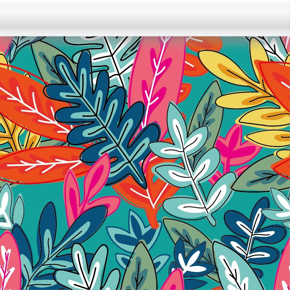 Empapelado En Papel Mural Hojas Flores Fondo 99000 En Mercado Libre