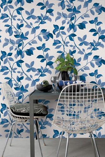 empapelado papel muresco allegra flores azul vinilico 73014