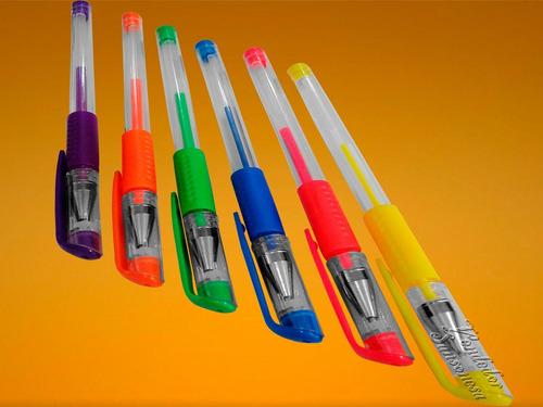 empaque de 6 boligrafos fluorescente surtidos punta fina
