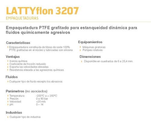 empaquetadura teflón grafitado lattyflon 3207 8mm p/ metro