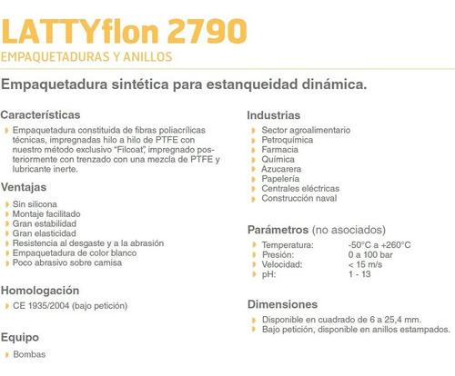 empaquetadura teflon lattyflon 2790 8mm p/ metro