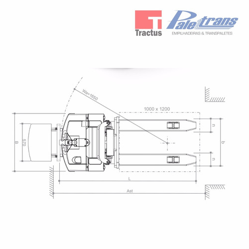 empilhadeira elétrica paletrans pt1616 - 1.600kg - 1,6m