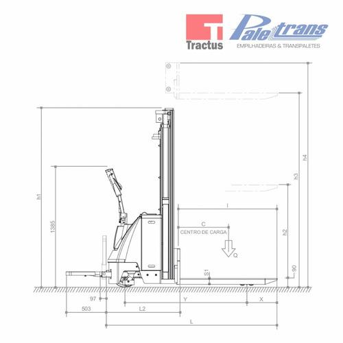 empilhadeira elétrica paletrans pt1645 - 1.600kg - 4,5m
