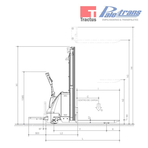 empilhadeira elétrica paletrans pt1654 - 1.600kg - 5,4m
