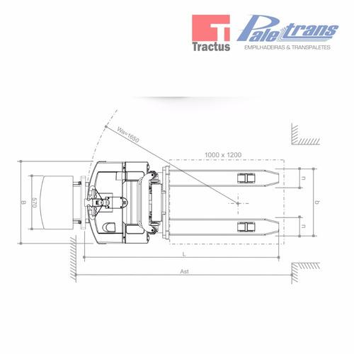 empilhadeira elétrica paletrans pt1654 fast - 1.600kg - 5,4m