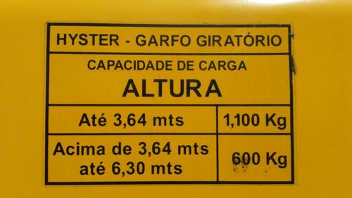empilhadeira hyster *torre trilateral de 6,30 metros* 55a