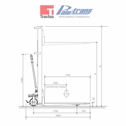 empilhadeira manual paletrans lm1016-1.000kg-1,60m-nova