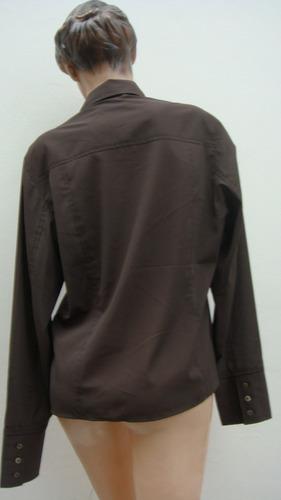 emporio armani camisa tl poliester elastizado marron(ana.mar