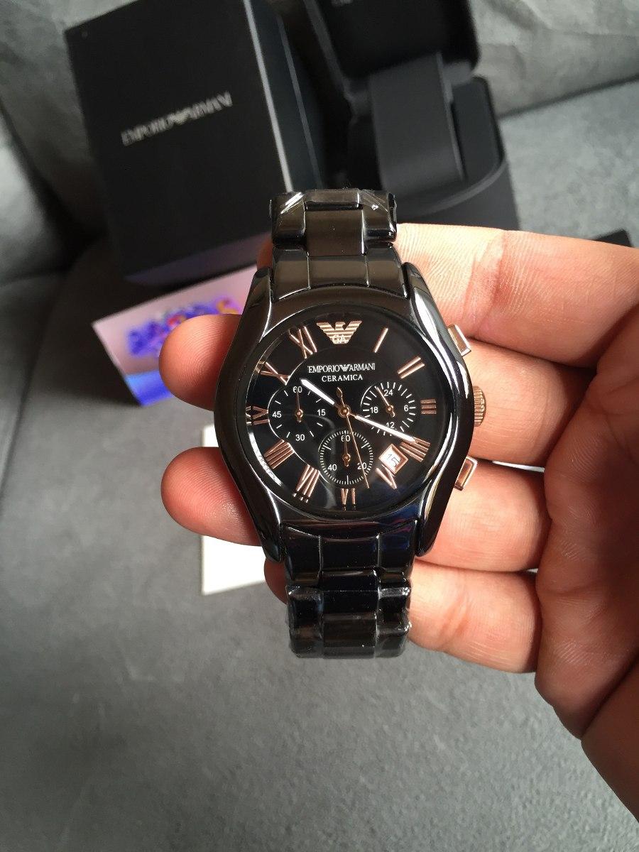 8e0a6bec9f8 Carregando zoom... relógio emporio armani ar1410 cerâmica preto e rose  original