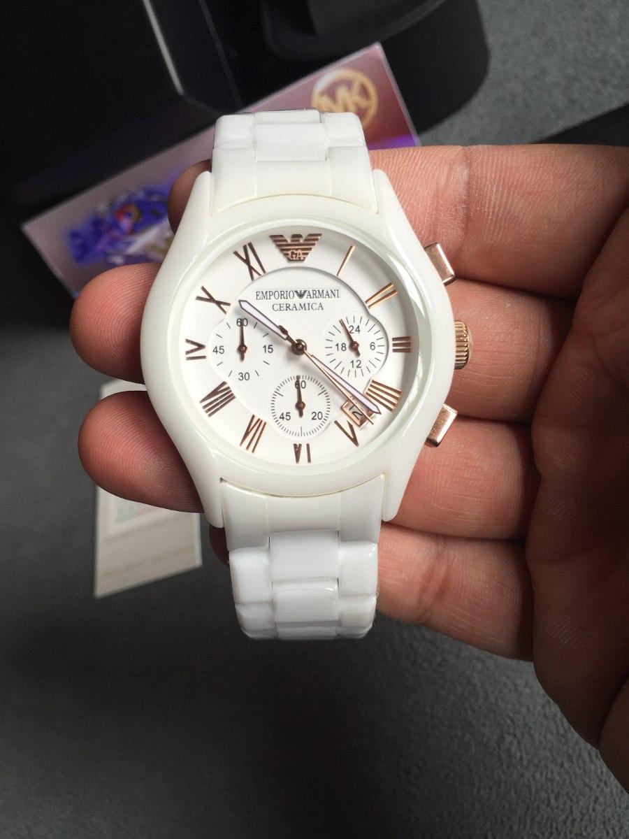 0821be4ba1d Carregando zoom... relógio emporio armani ar1416 cerâmica branco rose  original