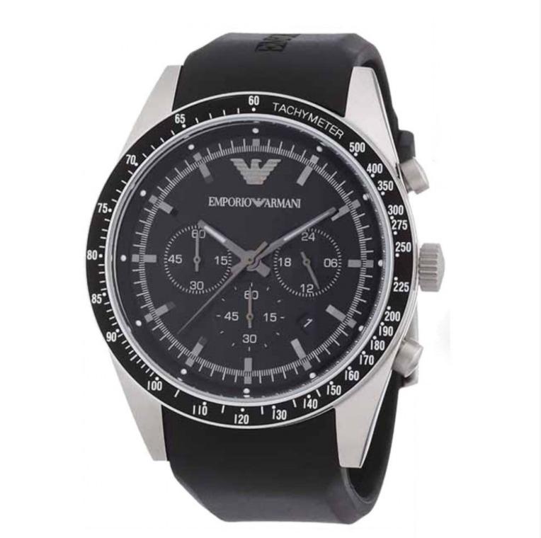 9cdf2839a57 Relógio Emporio Armani Pulseira De Borracha Preta Ar5985 - R  979