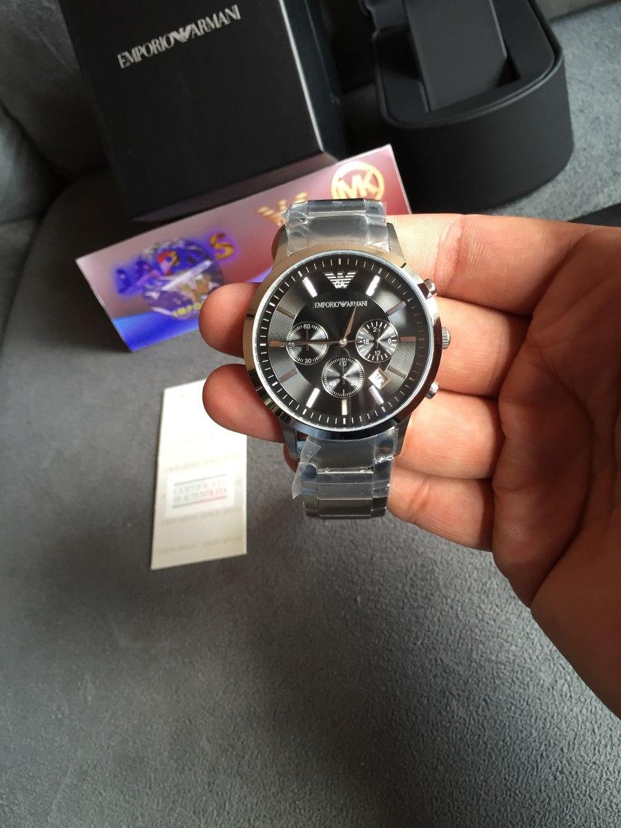 4bb8526eae0 Carregando zoom... relógio emporio armani ar2434 aço com preto pronta  entrega