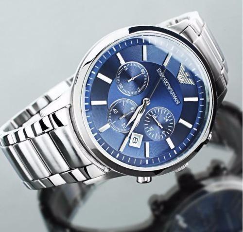 b2e84e84adf Relógio Emporio Armani Ar2448 Prata Azul Com Caixa Em Oferta - R ...
