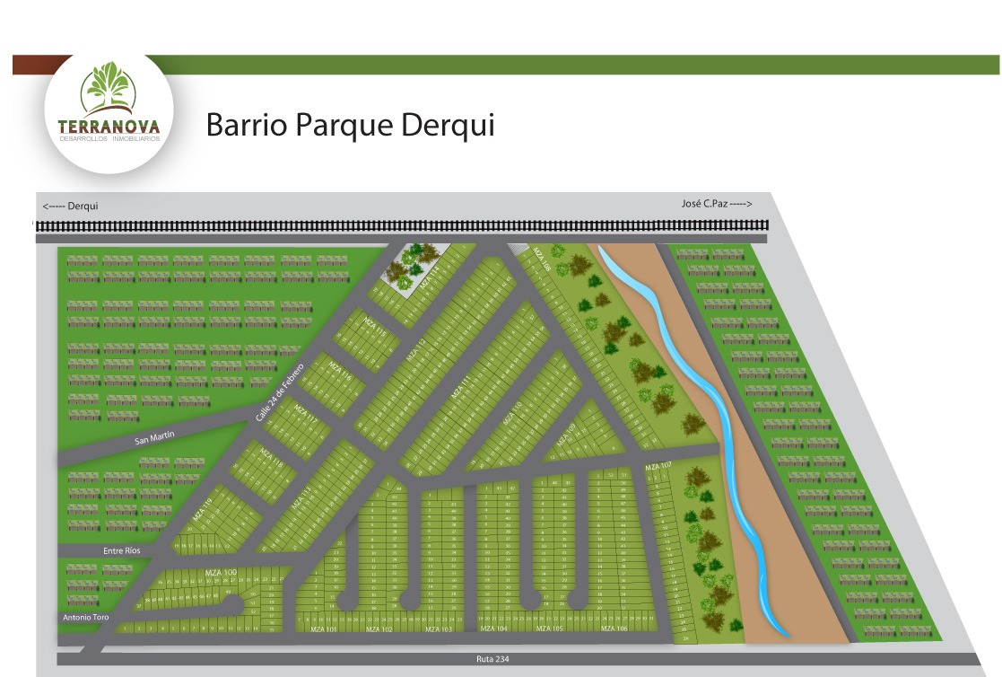 emprendimiento terrenos financiados en cuotas en barrio parque derqui