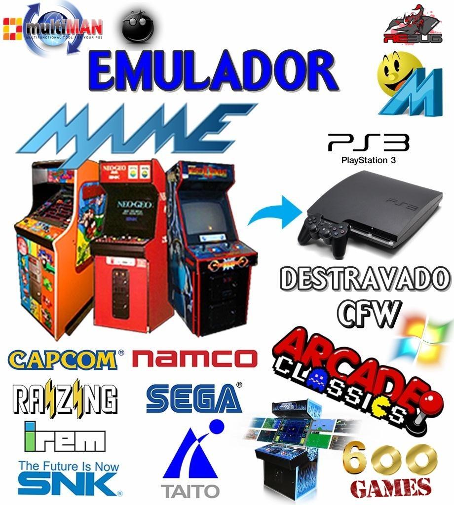 Emulador Mame 600 Arcades P/ Pc Play3 Destravdo Frete Gratis
