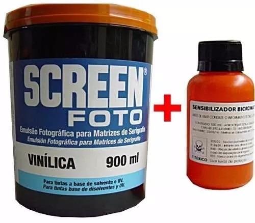 emulsão screen foto vinilica azul + sensibilizante bicromato