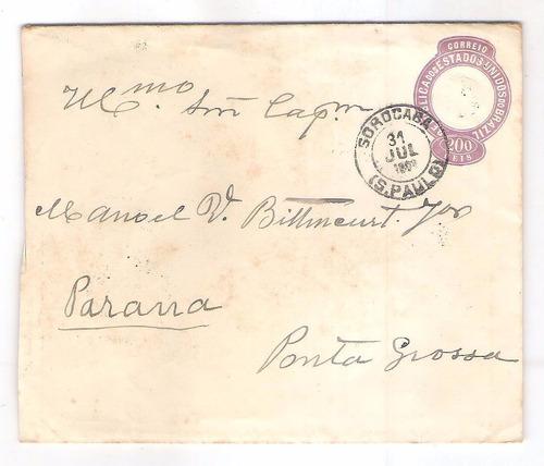 en-45 envelope 200 reis circulado sorocaba para ponta grossa