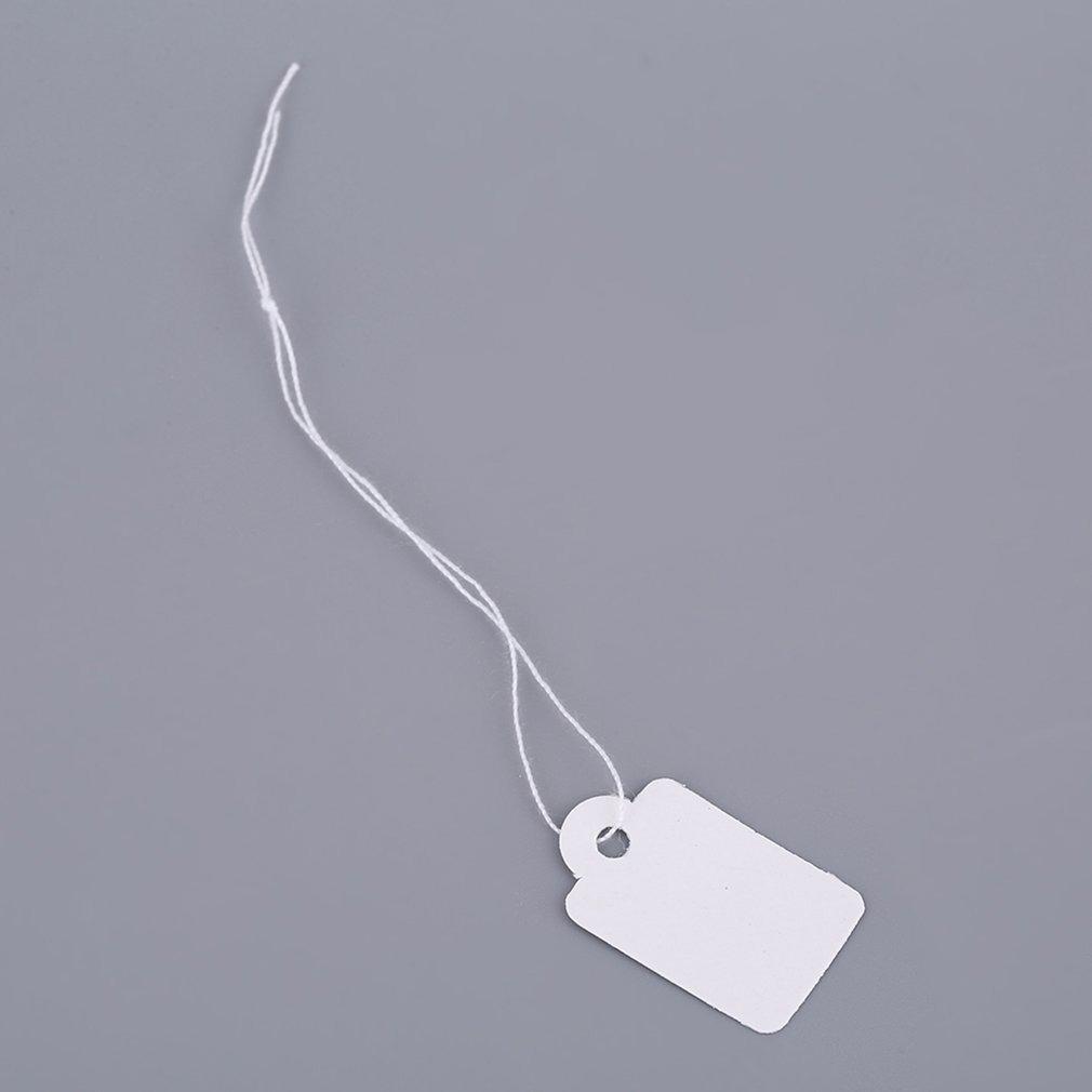 Blanco Etiqueta de precio de plata 925 en blanco rectangular en blanco 100 piezas con cadena Accesorios de tienda de promoci/ón de etiquetas de joyer/ía