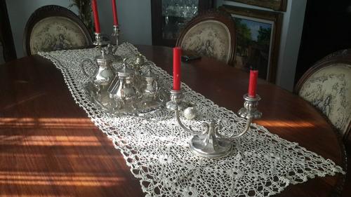 en  plata 925 juego de cafe y candelabros