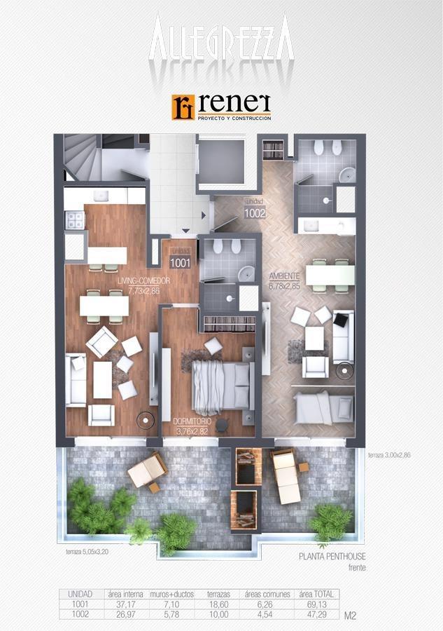 en promo! penthouse 1 dormitorio con terraza y parrillero sobre 26 de marzo | pocitos