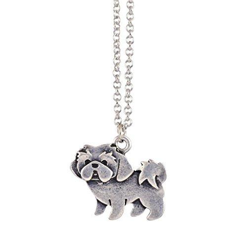 en tus sueños shih tzu necklace, dainty silver plated dog pe