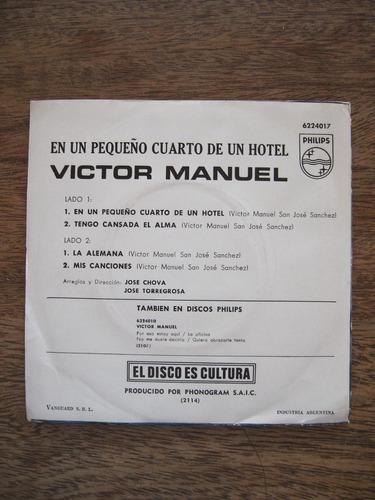 en un pequeño cuarto de un hotel - victor manuel - vinilo ep