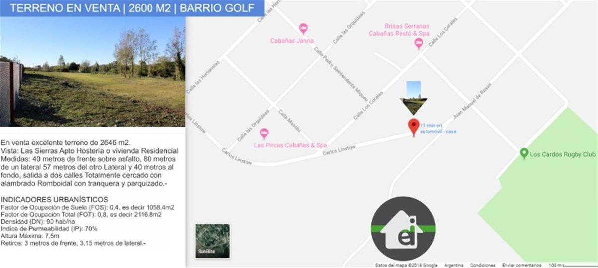 en venta terreno tandil   2600 m2   barrio golf