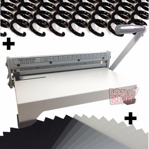 encadernadora perfuradora oficio/a4 +100 capas +100 espirais