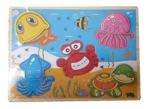 encajable animales acuáticos didáctico de madera infantil