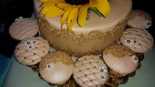 encaje hinovay sugarveil color oro y plata 4pzas reposteria