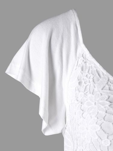 encaje insertar con cordón imperio cintura blusa limpia