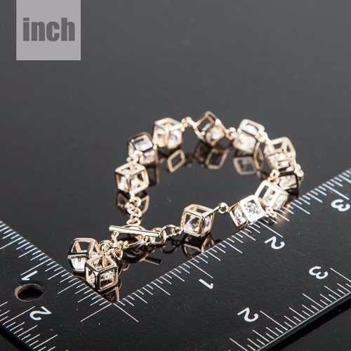 encantadora pulsera brazalete swarovski chapa de oro 18k