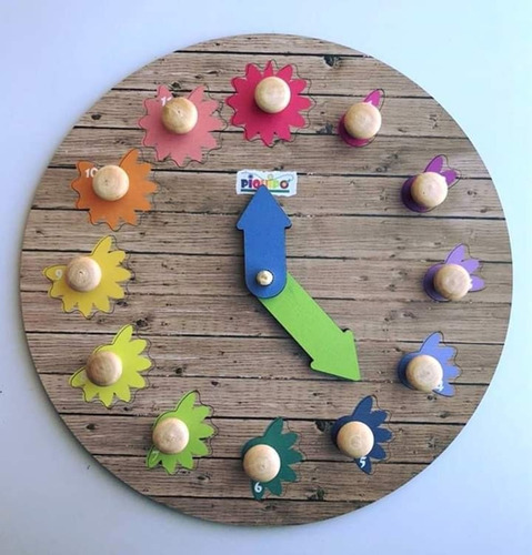 encastre reloj de madera numeros contar motricidad 28cm