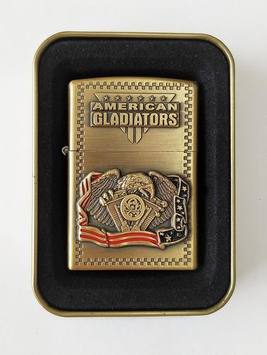 encendedor antiviento american gladiators + liquido recarga