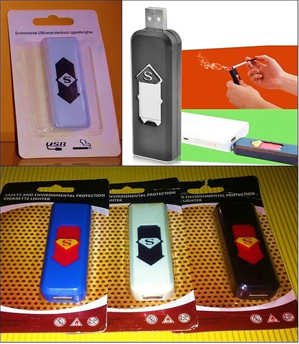 encendedor cigarros electrónico recargable usb colores