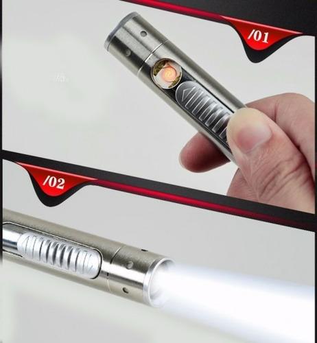 encendedor eléctrico recargable con  linterna
