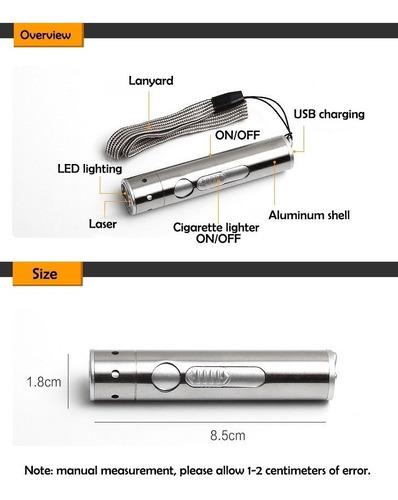 encendedor electronico  en 1 recargable usb linterna + laser