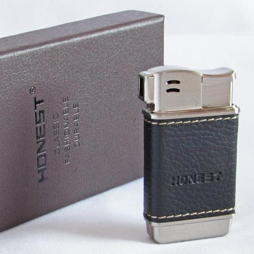 encendedor honest pipa cuero negro fumar pipa tabaco lateral
