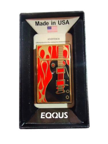 encendedor metalico diseño de guitarra clasico llama verde