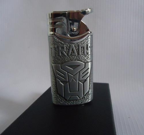 encendedor metalico transformers optimus prime plateado