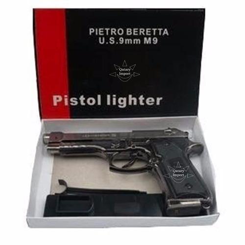 encendedor pistola beretta color negra recargable gas envio