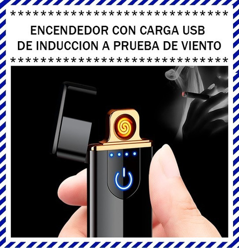 encendedor tactil electrico recargable usb