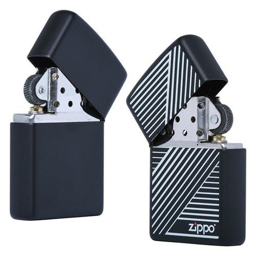 encendedor zippo negro mate rayas blancas - cod 29535