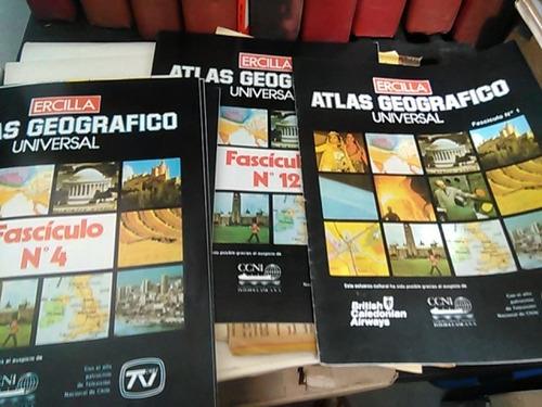 enciclopedia,atlas geografico universal, n° 1 al 12,ercilla