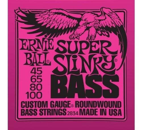 encordado bajo ernie ball 045/100 super slinky 2834 4 cuerda