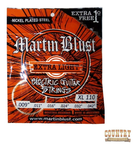 encordado cuerdas martin blust xl 110 guitarra eléctrica
